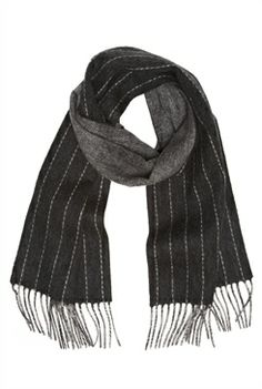 The essential reversible pinstripe scarf in Black/Grey $42