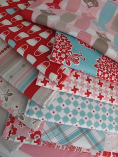 Riley Blake, Lori Holt, Millie's Closet Collection in red, aqua, pink and grey. Fabric Patterns, Print Patterns, Aqua, Pink Blue, Turquoise, Picnic Quilt, Closet Collection, Bee In My Bonnet, Decoupage