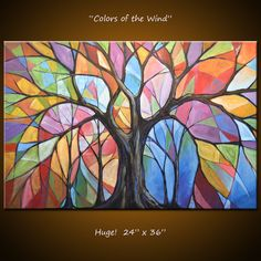 Abstract original tree art painting colors of the wind painting tree ar Painting Prints, Art Prints, Canvas Prints, Landscape Art, Painting Inspiration, Original Paintings, Art Paintings, Abstract Art, Canvas Art