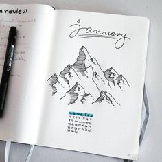 Bullet journal monthly cover page, January cover page, mountain drawing, outdoor drawing. | @savedbythepen