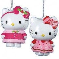 Hello Kitty Pink/Red Dress Collectible Christmas Tree Ornaments