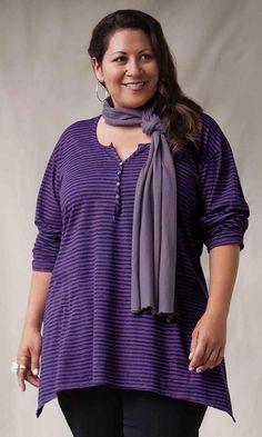 3/4 Sleeve Stripe Henley Top / MiB Plus Size Fashion for Women / Winter Fashion / http://www.makingitbig.com/product/5063
