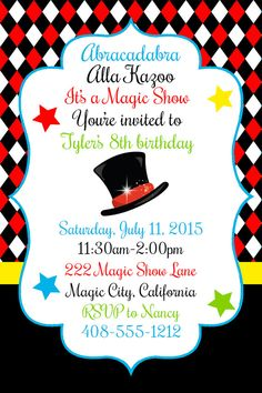 Magic Party magician invitation magic show by welcometomystore