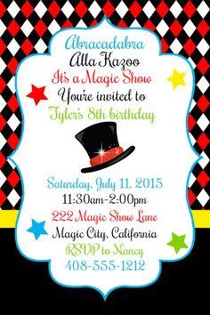 Invitación fiesta mágica fiesta de cumpleaños mágica ver