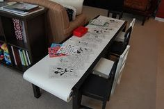 GREAT IDEA for kids art table