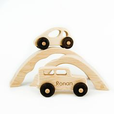 Wood Car and Truck with Bridge Tunnels Toy - Little Sapling Toys