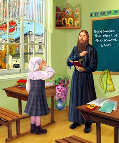 """Illustrations for """"My First Prayerbook"""", Priest at school Catholic All Year, Faith Of Our Fathers, Christian Artwork, Russian Painting, Orthodox Christianity, Russian Orthodox, Holy Family, Orthodox Icons, True Faith"""