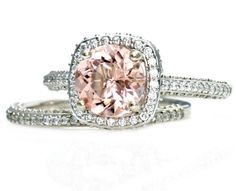 Platinum Morganite Wedding Set Diamond Halo Morganite Engagement Ring Custom Bridal Jewelry. $3,293.00, via Etsy.