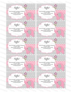 Elephant Baby Shower Diaper Raffle Ticket Diaper Raffle Card Diapers Raffles Baby Shower Games Printable Digital Files (50custom) on Etsy, $3.00