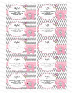 Elephant Baby Shower Diaper Raffle Ticket Diaper Raffle Card Diapers Raffles Baby Shower Games Printable Digital Files (50custom) on Etsy, $3.00