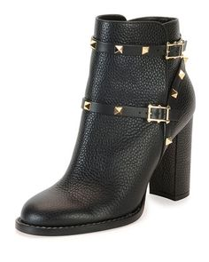 Love and want! Fall 2015 Rockstud+Chunky-Heel+Boot,+Black+by+Valentino+at+Neiman+Marcus.