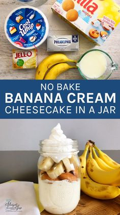 Do you want to try new delicious, easy cake in a jar recipes? The first one I recommend is this No Bake Banana Cheesecake. It takes mere minutes to whip up and is the perfect light, sweet treat to end any meal. It makes a great summer dessert too. Mason Jar Desserts, Mason Jar Meals, Meals In A Jar, Fun Desserts, Dessert Recipes, Mason Jars, Delicious Desserts, Awesome Desserts, Baking Desserts