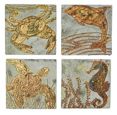 Big Sky Carvers Copper Impressions Sealife Coaster Set ** You can find out more details at the link of the image.