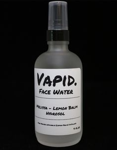 Vapid Lacquer Melissa - Lemon Balm Hydrosol: All of our pure, organic hydrosols are meant to be used on their own or in conjunction with your current skin and body care routine. Every hydrosol has a unique set of proporties that make them interesting and highly valuable.  You can use these distillates for a myriad of things, from daily skin care as a gentle, simple toner, to make up refresher/setting spray, and even for medicinal and emotional healing. Just a few sprays can make a huge…