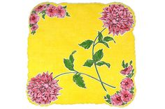 VINTAGE HANKIE Dahlias Red Pink on Bright Yellow Deep by CUSHgoods