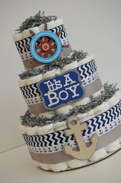 Nautical Diaper Cake/ Boy Baby Shower/ Nautical Baby Shower/ Nautical theme/ Nautical cake/ Ahoy its a boy/ gift for baby boy/ diaper cake for boys/ gift for baby/ baby shower decor/ nautical theme shower/ baby shower gifts/ anchor/ captains wheel/ sail boat/ chevron diaper cake/ navy and gray/ navy diaper cake/ navy cake by LittleOrchidStudio on Etsy