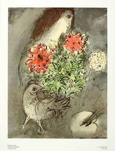 Woman Flowers and Bird by Marc Chagall