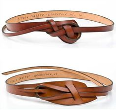 "Rilleau leather belts, handmade in Vermont. The knots are easy to learn (instructions come with it!) and the 10-12"" ""tail"" tucks under the belt on the side. Similar in design to old 1960's ""snake"" belts. A great casual look!                                                                                                                                                     More"