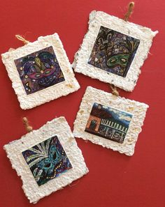 These handmade paper ornaments from Ellen McCord Arts make great gifts! $8 each #ornament #handmadepaper #christmas