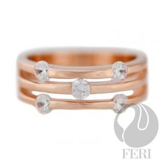 """""""Memories Afar"""" Ring, - .925 fine sterling silver, - 0.1 micron natural rhodium, rose gold plated, - AAA white cubic zirconia"""