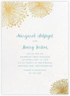 Dandelion (Invitation) - White/Gold - Paperless Post