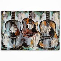 Peinture de guitare cadeau pour un musicien musique Art Original grand texturé peinture guitare acoustique technique mixte sur toile fait sur commande.