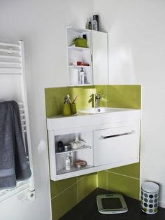plan vasque meuble d'angle petite salle de bain castorama | tiny ... - Placard D Angle Salle De Bain