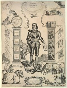 Oliver Cromwell standing between two pillars, flanked by allegorical emblems.  1658  Engraving