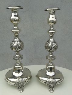 Antique Russian Sterling Silver candlesticks 19th Moscow Imperial Court Judaica