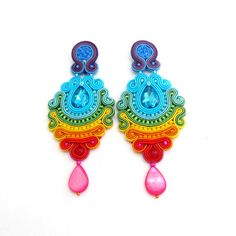 Hey, I found this really awesome Etsy listing at https://www.etsy.com/listing/481587561/colorful-long-clip-on-earrings-unique
