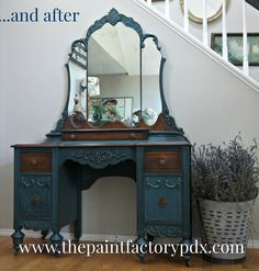 A striking vanity finished in a mix of Aubusson Blue, Antibes Green and Graphite Chalk Paint® decorative paint by Annie Sloan   By Diane at The Paint Factory https://www.facebook.com/ThePaintFactory