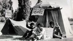 The original Aboriginal Tent Embassy on the lawns in front of Parliament House in 1972.
