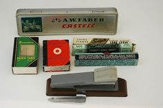 Vintage Midcentury OFFICE SUPPLIES, Vintage Paper Tabs,  Vintage Pencils Case, Office Decor from 1950s, Made in USA,. $18.00, via Etsy.