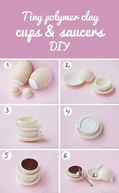 Tiny polymer clay cups and saucers DIY | Лепим из полимерной глины миниатюрную чайную пару
