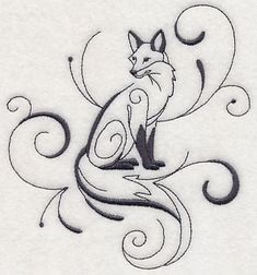 Inky Fox Sitting 5x5 Machine Embroidery Designs at Embroidery Library! -