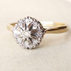 Love the Diamond Flower Cluster Ring Vintage wedding ring via Etsy Vintage Diamond Rings, Wedding Rings Vintage, Gold Wedding Rings, Gold Diamond Rings, Vintage Rings, Vintage Jewelry, Modern Jewelry, Gold Ring, Wedding Bells
