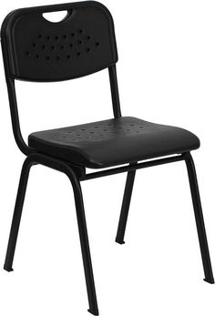 HERCULES Series 880 lb. Capacity Black Plastic Stack Chair with Black Powder Coated Frame