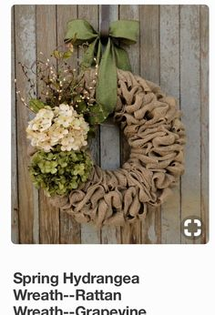 Cream And Green Spring Burlap Wreath Hydrangea Easter Earth Tone
