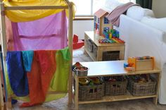 Setting up imaginative play spaces - play 'shop'