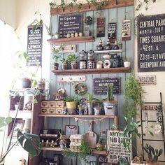 Love the vertical sage wood wall Diy Garden, Garden Shop, Rustic Gardens, Outdoor Gardens, Estilo Indie, Diy Kit, Boutique Deco, Country Interior, Cactus Y Suculentas