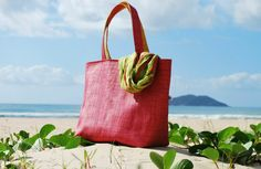 Bolsa de praia reversivel rosa e amarelo - Karolas