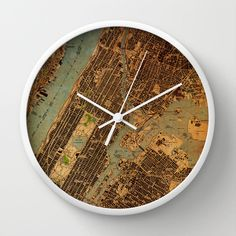 Wall clock Central Park 1947 Map Vintage Antique Old by allmaps