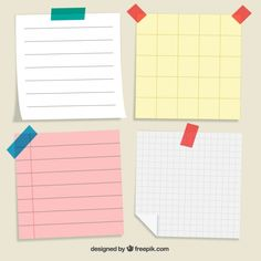Pack of four paper notes to write messages Free Vector Printable Stickers, Planner Stickers, Journal Paper, Good Notes, Note Paper, Study Notes, Book Cover Design, Planer, Clip Art