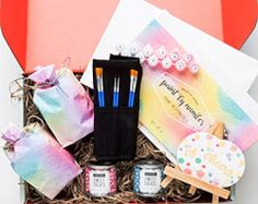 Wine & Paint Night At Home: A Thoughtfully Gift Box Containing Stemless Wine Glasses, Canvases, Paint, Paint Brushes, Candy & Easel Best Gift Baskets, Wine Gift Baskets, Gifts For Wine Lovers, Wine Gifts, All You Need Is, Wine And Paint Night, Wine Presents, Wine Painting, Stemless Wine Glasses