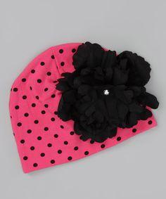 053cfdbf Pink Polka Dot Flower Beanie Black Peony, Pink Black, Congratulations Baby,  Cotton Beanie