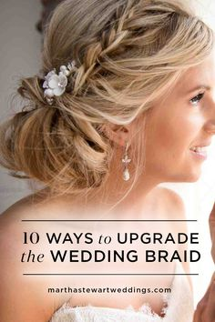 10 Ways to Upgrade the Wedding Braid | Martha Stewart Weddings - Braids are one of the MVPs in wedding hairstyles. After all, they're romantic without even trying and can be styled in so many different ways. If you're looking for fresh ways to upgrade a braided hairstyle, take a cue or two from Tatiana Irving, owner of Braid Studio Santa Monica & Westwood, and Katelyn Webb, owner of Katelyn Webb Beauty. Here, 10 braided wedding hairstyles to inspire your own bridal beauty look.