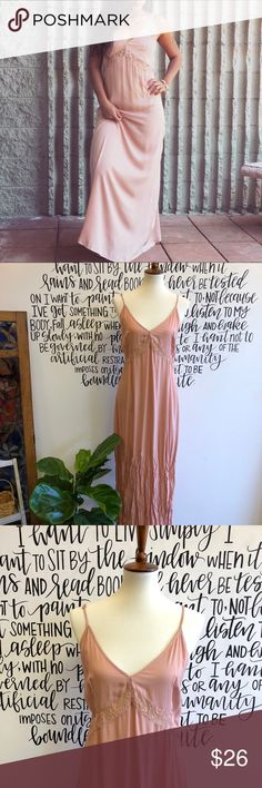New Blush Sip Maxi w/ Lace Detail New blush light weight maxi w/ lace detail and low v back w/ buttons. 100% rayon. Size L. Honey Punch Dresses Maxi