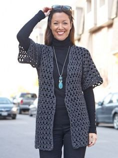 Perfect Office Crochet Jacket - Patterns | Yarnspirations FREE pattern (1/2) (hva)