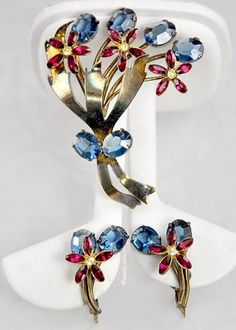 Signed CALVAIRE Patriotic Sterling and Rhinestone Floral Set