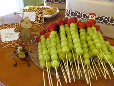 Safari Baby shower food, i like the fruit kabobs idea!